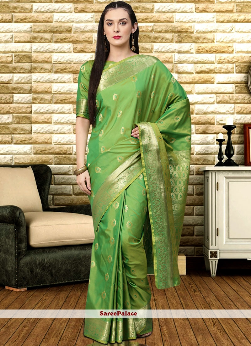 Green Weaving Party Designer Traditional Saree