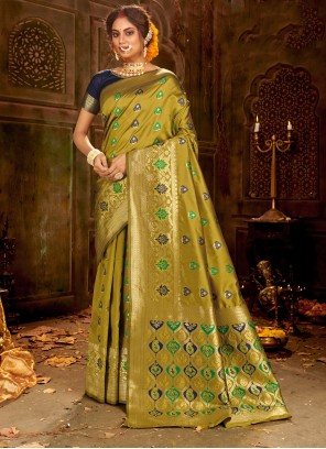 Green Weaving Party Traditional Saree