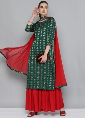 Green Weaving Party Wear Kurti