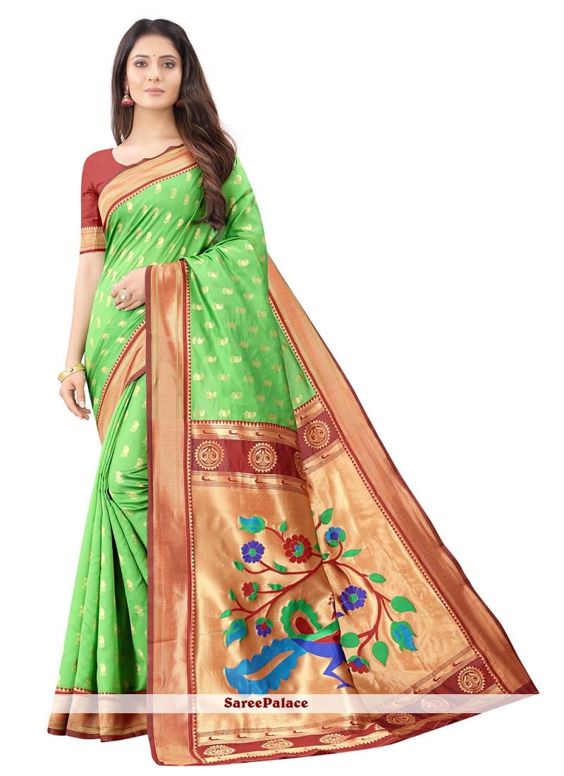 Green Weaving Silk Designer Traditional Saree