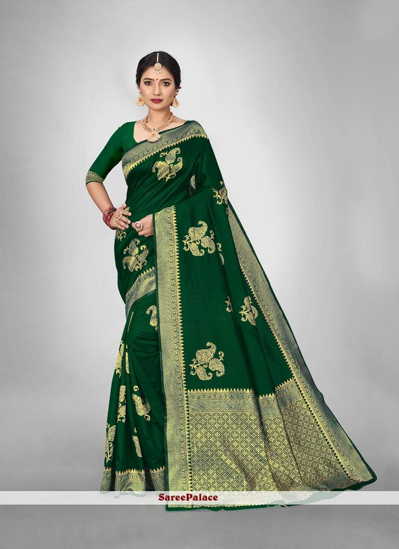 Green Weaving Festival Silk Saree