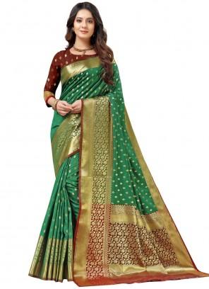 Green Weaving Silk Traditional Designer Saree