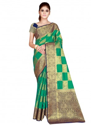Green Weaving Traditional Designer Saree