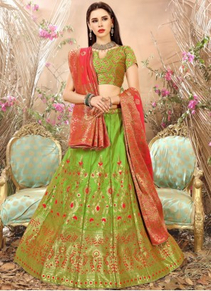 Green Weaving Work Lehenga Choli
