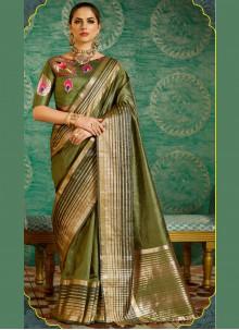 Green Weaving Work Silk Designer Saree