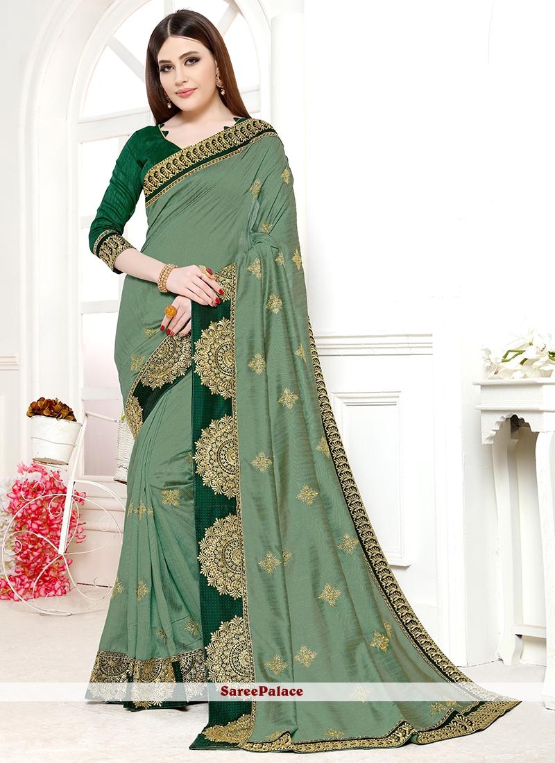 Green Wedding Art Silk Designer Saree