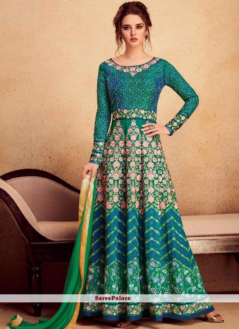 Green Wedding Floor Length Anarkali Suit