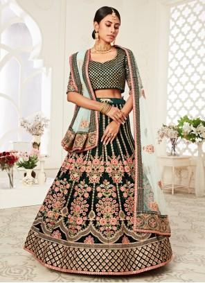 Green Wedding Velvet Trendy Lehenga Choli