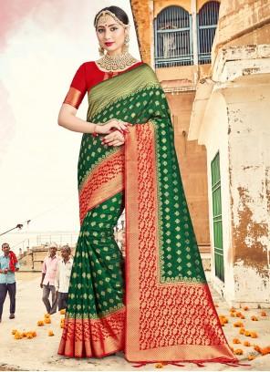 Green Woven Art Banarasi Silk Traditional Designer Saree