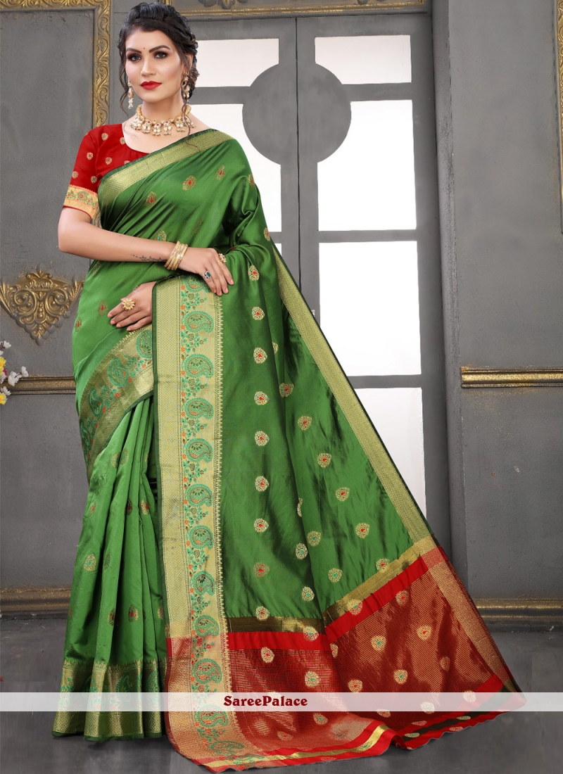 Green Woven Art Silk Traditional Designer Saree