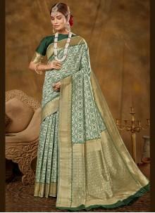 Green Woven Banarasi Silk Traditional Designer Saree