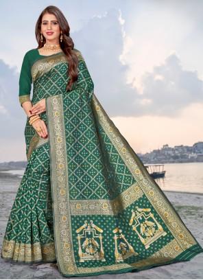 Green Woven Banarasi Silk Traditional Saree