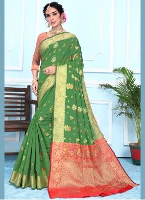Green Woven Contemporary Saree
