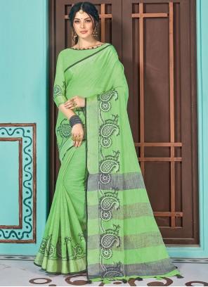 Green Woven Linen Traditional Saree