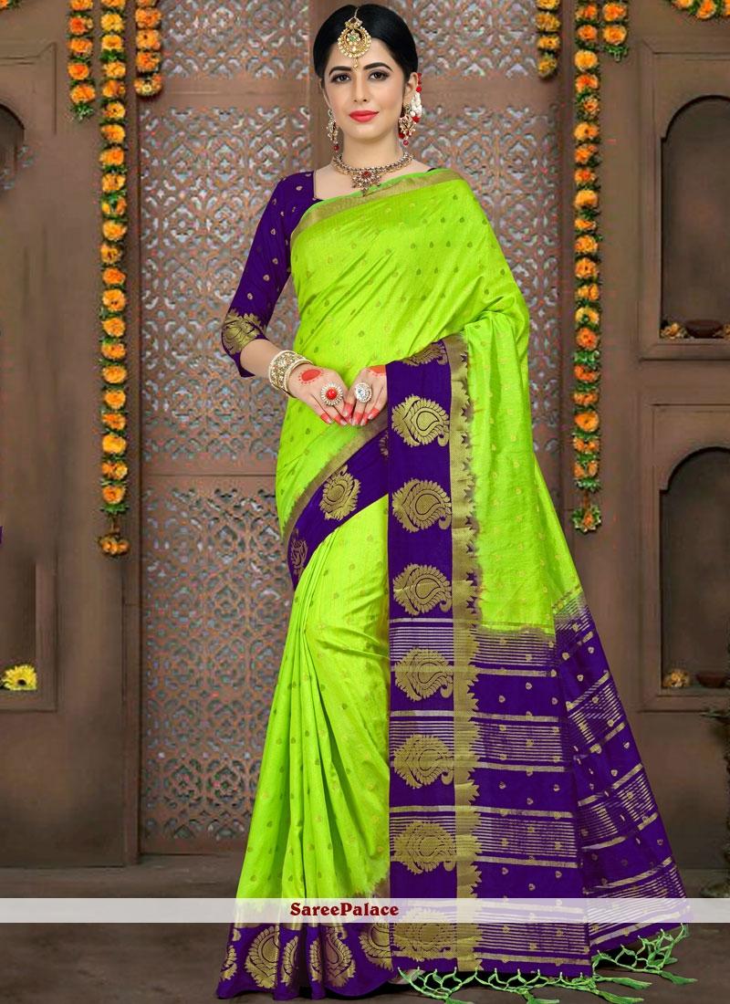 Green Woven Party Saree