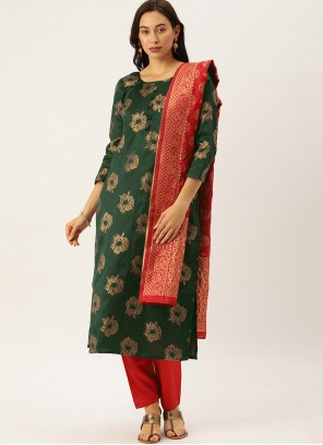 Green Woven Silk Pant Style Suit