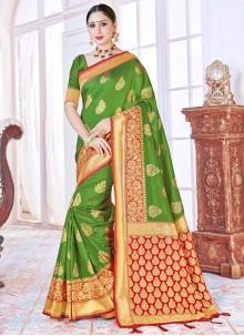 Green Woven Traditional Saree