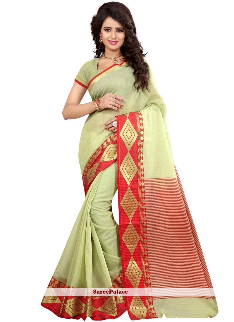Green woven Work Cotton Silk Traditional  Saree