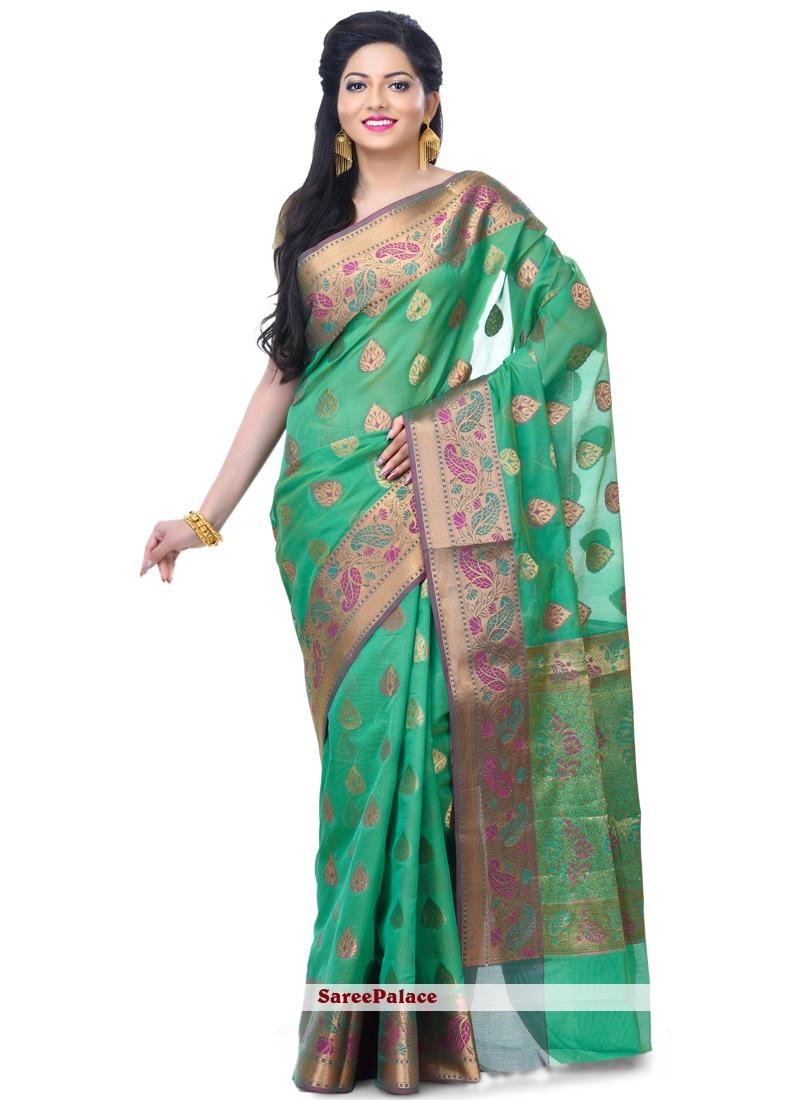 Green Zari Banarasi Silk Classic Designer Saree