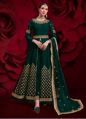 Green Zari Mehndi Pant Style Suit