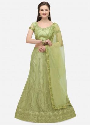 Green Zari Net A Line Lehenga Choli