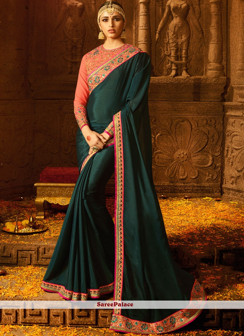 Green Zari Work Chinon Trendy Saree