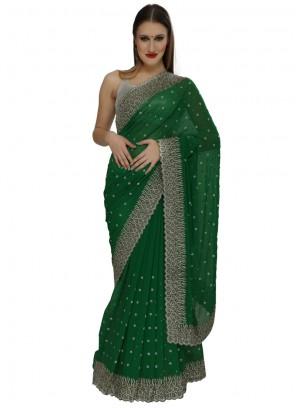 Green Zircon Work Classic Designer Saree