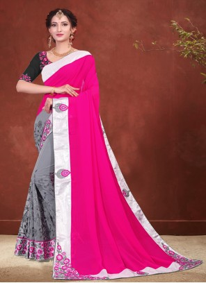 Grey and Hot Pink Embroidered Faux Chiffon Designer Half N Half Saree