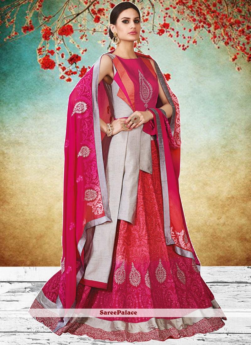 152f505227 Buy Grey and Hot Pink Lace Work Long Choli Lehenga Online