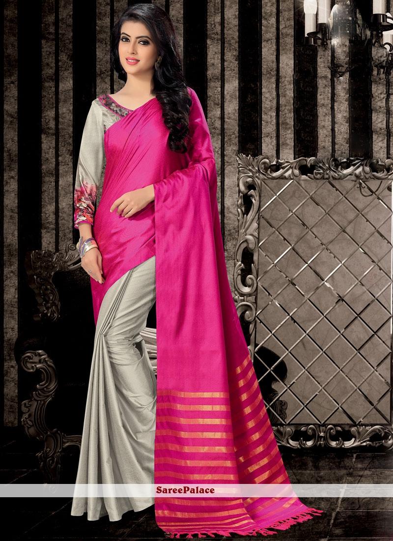 Grey and Hot Pink Print Work Handloom Cotton Half N Half  Saree