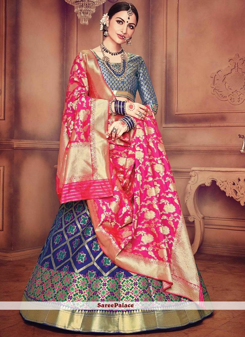 4660c411a6 Buy Grey and Hot Pink Zari Work Designer Lehenga Choli Online