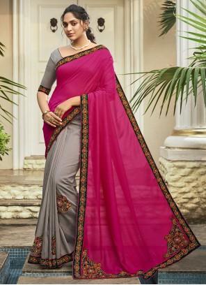Grey and Magenta Chanderi Designer Half N Half Saree