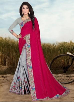Grey and Magenta Fancy Fabric Designer Half N Half Saree