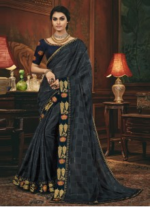 Grey and Navy Blue Engagement Silk Designer Traditional Saree