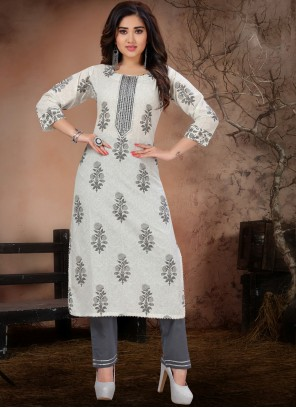 Grey and Off White Festival Party Wear Kurti