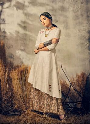 Grey and Off White Party Cotton Silk Designer Kurti