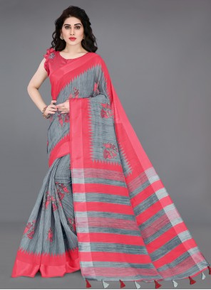 Grey and Pink Casual Printed Saree
