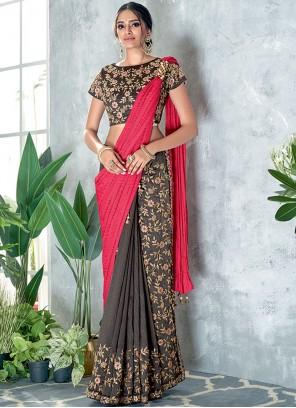 Grey and Pink Color Classic Designer Saree