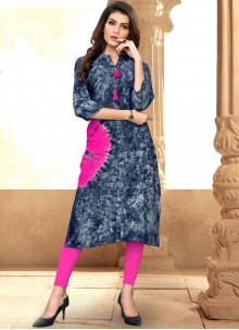 Grey and Pink Color Party Wear Kurti