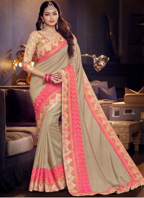 Grey and Pink Fancy Fabric Party Classic Designer Saree