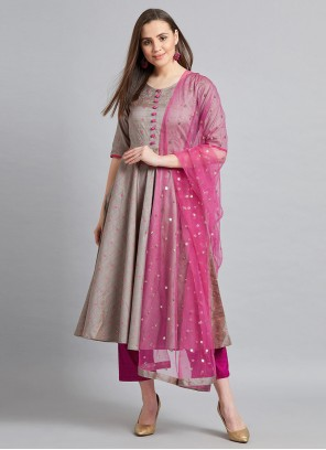 Grey and Pink Fancy Festival Readymade Suit