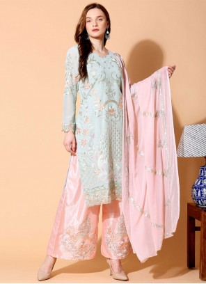 Grey and Pink Thread Designer Pakistani Salwar Suit