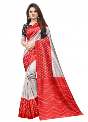 Grey and Red Abstract Print Traditional Saree
