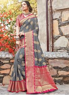 Grey and Red Art Silk Zari Classic Designer Saree