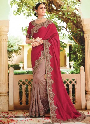 Grey and Red Embroidered Party Contemporary Saree