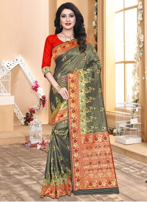 Grey and Red Party Designer Traditional Saree