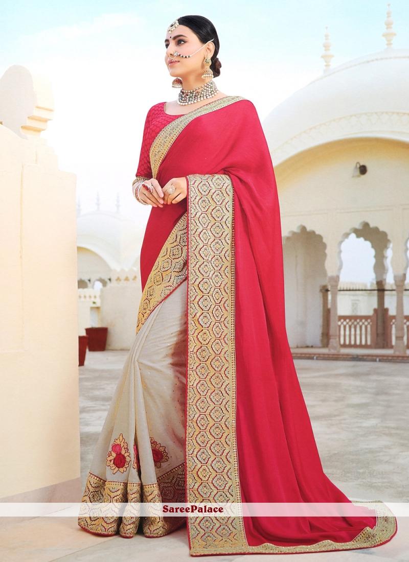 Grey and Red Silk Saree