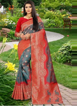 Grey and Red Weaving Banarasi Silk Designer Traditional Saree