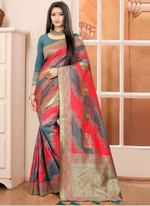 Grey and Red Weaving Banarasi Silk Traditional Designer Saree