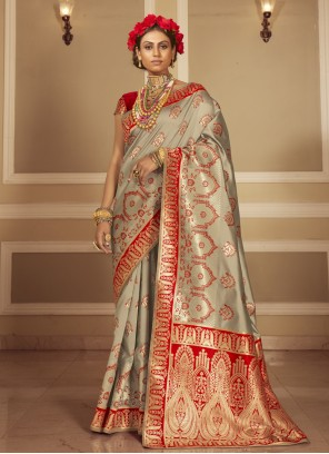 Grey and Red Woven Traditional Designer Saree